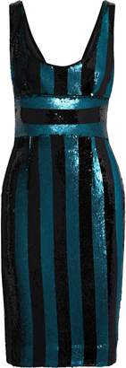Milly Veronica Striped Sequined Satin Dress