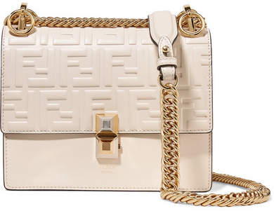 Fendi Kan I Small Embossed Leather Shoulder Bag - Off-white