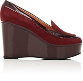Robert Clergerie WOMEN'S URSULED PLATFORM WEDGE LOAFERS-RED SIZE 8.5