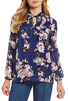 I.N. Studio Smudge Floral Print Long Sleeve High-Low Hem Top