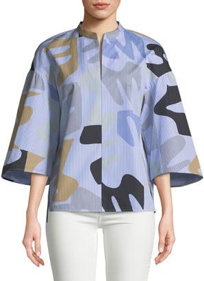 Lafayette 148 New York Carla Urban Ethos on Stripe Shirting Blouse