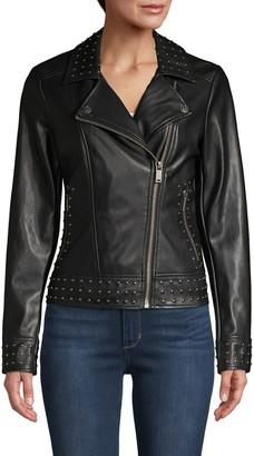 Karl Lagerfeld Paris Studded Faux Leather Jacket