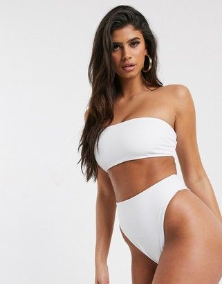ASOS DESIGN recycled mix and match clean bandeau long line bikini top in white