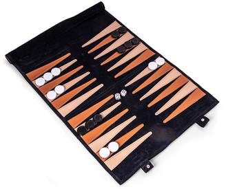 Bey-Berk Men's Suede Roll-Up Backgammon Travel Set