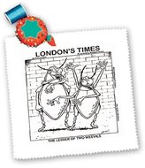 3dRose LLC qs_1791_1 Londons Times Funny Society Cartoons - Lesser Of Two Weevils - Quilt Squares