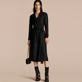 Burberry Silk Wrap Trench Dress with Military Piping