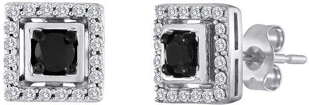 Black Diamond FINE JEWELRY 1/2 CT. T.W. White and Color-Enhanced Square Earrings