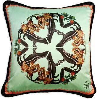 Texas And The Artichoke Skunks Detail Silk & Velvet Cushion