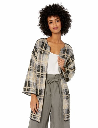Democracy Women's 3/4 Sleeve Reversible Open Cardigan Sweater