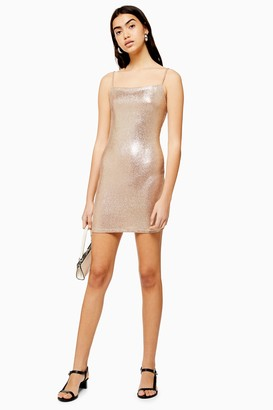 Topshop Womens Metallic Foil Bodycon Dress - Gold
