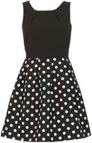 **Tenki Black Polka Dot Skater Dress