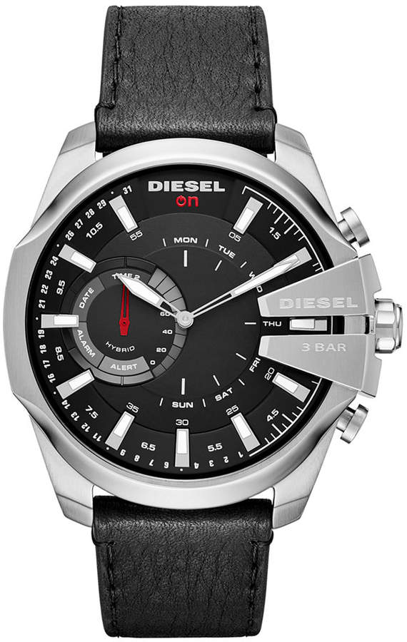 Diesel Men's Mega Chief Black Leather Strap Hybrid Smart Watch 48mm