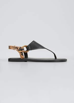 Vince Pharis Flat Snake-Print Slingback Thong Sandals