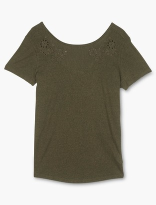 Lucky Brand Eyelet Scoop Back Tee