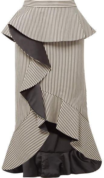 Alice + Olivia Alice Olivia - Alessandra Ruffled Striped Cotton-blend Midi Skirt - Ecru