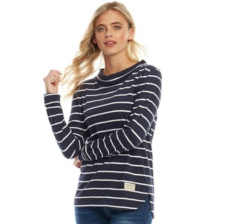 Board Angels Womens Boat Neck Top Navy/White