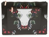Ted Baker 'Bejewelled Shadows - Fawnn' Printed Leather Pouch - Black