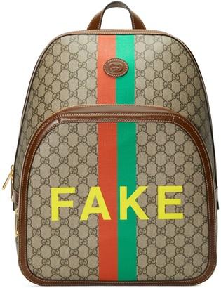 Gucci 'Fake/Not' print medium backpack