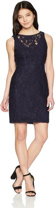 Adrianna Papell Women's Petite Lace Halter Sheath Short Dress