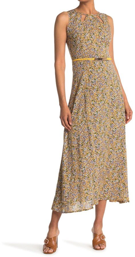 Papillon Floral Belted Sleeveless Maxi Dress