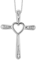 Diamond Sterling Silver Heart Cut Out Cross Pendant Necklace by JewelonFire