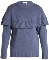 Chloé Iconic cape-overlay cashmere sweater