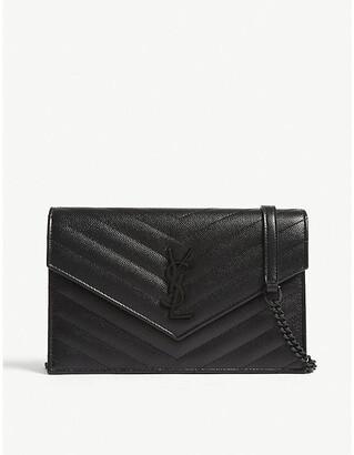 Saint Laurent Monogram pebbled leather wallet-on-chain