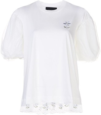 Simone Rocha puff-sleeved lace trimmed T-shirt