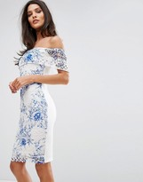 Lipsy Off Shoulder Printed Lace Pencil Dress
