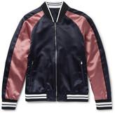 Solid Homme Slim-Fit Appliquéd Satin Bomber Jacket