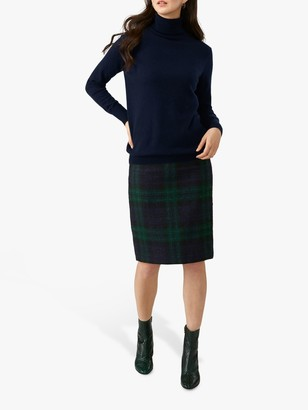 Pure Collection Wool Pencil Skirt, Navy/Green Check