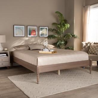 Baxton Studio Cielle French Bohemian Antique Oak Finished Wood Queen Size Platform Bed Frame