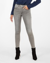 Express High Waisted Grey Cozy Fleece Jean Ankle Leggings