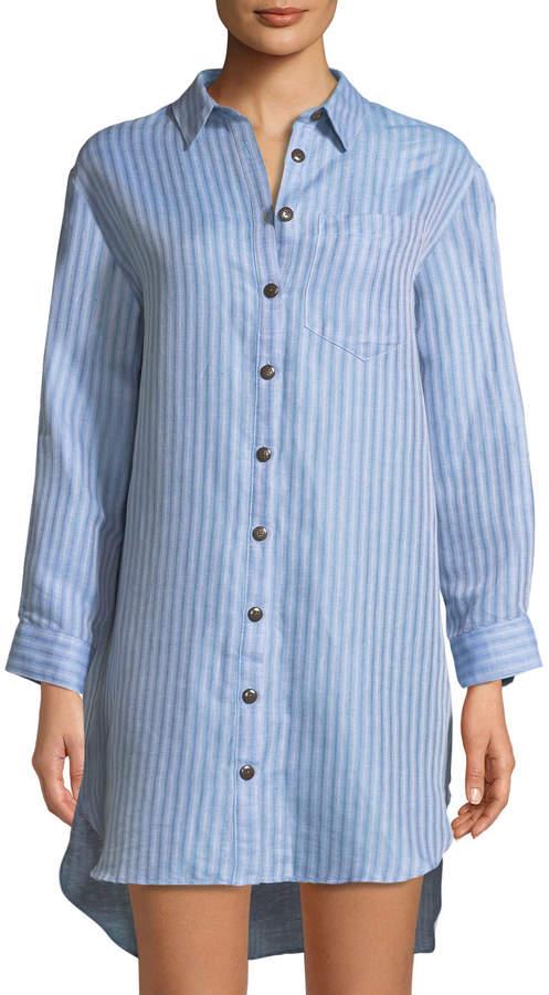 Mara Hoffman Bennett Button-Front Striped Coverup Shirt