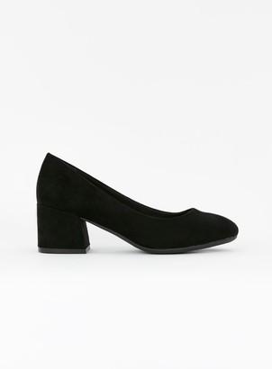 Evans EXTRA WIDE FIT Black Block Heel Court Shoes