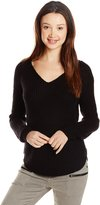 Derek Heart Junior's V Neck Raglan Long Sleeve Shaker Sweater with Curved Hem