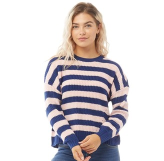 Only Womens Sara Long Sleeve Striped Knit Jumper Blushing Bride/Sodalite Blue
