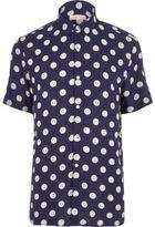 River Island MensNavy polka dot short sleeve shirt