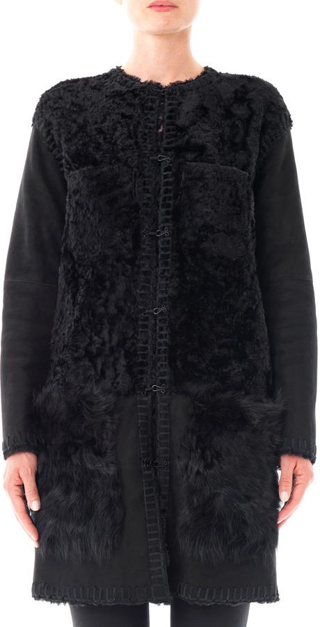 Lanvin Patchwork shearling coat