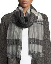 Eileen Fisher Hand-Loomed Organic Cotton Diamond Striped Scarf