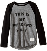 The Original Retro Brand Kids This Is My Weekend Shirt Raglan Long Sleeve Tee (Big Kids)