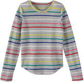 Joe Fresh Kid Girls' Stripe Waffle Tee, Grey Mix (Size L)