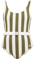 Solid & Striped Anne-marie Belted Striped Swimsuit - Womens - Green Stripe
