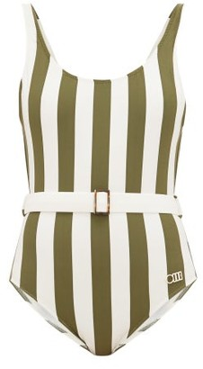 Solid & Striped The Anne-marie Belted Striped Swimsuit - Womens - Green Stripe