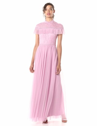 BCBGMAXAZRIA Azria Women's Colorblocked Lace and Tulle Gown
