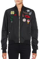 Design Lab Lord & Taylor Patched Bomber Jacket