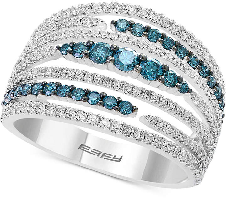 Effy Belle Bleu by Diamond Multi-Row Statement Ring (1-1/8 ct. t.w.) in 14k White Gold