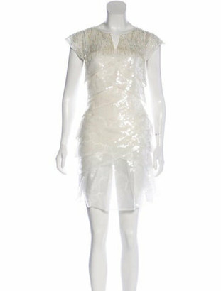 Chanel 2018 Sequin-Embellished Organza Dress White
