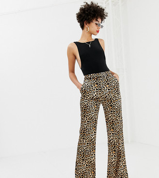 NA-KD flared leopard print satin pants in beige