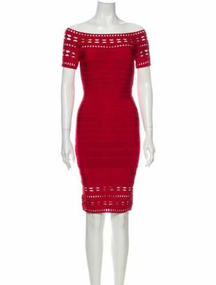 Herve Leger Off-The-Shoulder Mini Dress Red